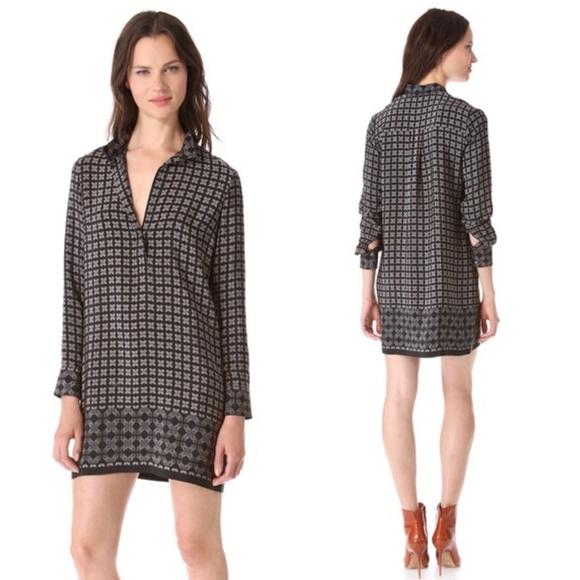 Vince Dresses & Skirts - VINCE SILK BLACK BORDER PRINT SHIFT DRESS SZ 8